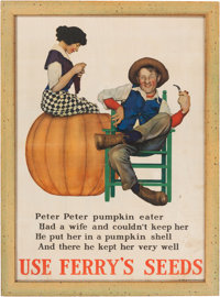Maxfield Parrish: Peter, Peter, Pumpkin Eater Color Print, 1918, Advertising Ferry's Seeds
