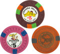 Miscellaneous:Gaming Chips, Las Vegas Casino Chips: Trio of $5 Chips.... (Total: 3 Items)