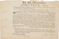 "Autographs:Statesmen, An Early 1768 ""License to Trade with the Nations or Tribes ofIndians, with Whom His Majesty is Connected,"" Signed by John Pen..."