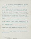 Autographs:U.S. Presidents, [Sequoia National Park]. Theodore Roosevelt Typed DocumentSigned....