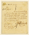 """Autographs:Military Figures, Thomas Sumter Manuscript Document Signed """"Thos Sumter,"""" onepage, 6.25"""" x 7.75"""", tipped at left edge to a 7"""" x 8.5"""" card..."""