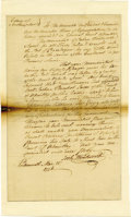 """Autographs:Statesmen, Joshua Wentworth Autograph Document Signed """"Josh. Wentworth,"""" one page, 7.25"""" x 12"""". Integral leaf inlaid to 8.25"""" x 14""""..."""