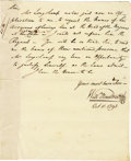 "Autographs:Statesmen, William Moultrie Manuscript Letter Signed ""Your most huml Serv/Willm Moultrie/ Oct 11. 1793"" as Governor of South Carol...(Total: 1 Item)"