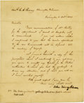 """Autographs:U.S. Presidents, John Quincy Adams Letter Signed with a holograph postscript, toAttorney General Caesar A. Rodney, one page, 7.75"""" x 9.75"""",...(Total: 1 Item)"""