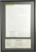 Autographs:Letters, Bill Rigney Signed Contract. A veteran of 26 seasons in the majorleagues, Bill Rigney played his entire career with the Gi...