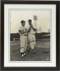 Autographs:Photos, Ted Williams and Mickey Mantle Dual-Signed Oversized Photograph.Elegant oversized photograph features the Hall of Fame bats...