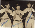 Autographs:Photos, Joe DiMaggio, Mickey Mantle and Ted Williams Multi-SignedPhotograph. All masters of the game, it was immediately cleardur...