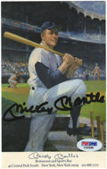 "Autographs:Post Cards, Mickey Mantle Signed Postcard from Mantle's. This oddly-sized postcard (4.5 x 6"") touts the Mick's restaurant and sports ba..."