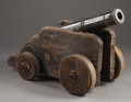 Antiques:Decorative Americana, Early Cast Iron Signal Cannon on Modern Carriage. ... (Total: 2Items)