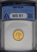 Liberty Quarter Eagles: , 1893 $2 1/2 MS61 ANACS. NGC Census: (67/421). PCGS Population (51/418). Mintage: 30,000. Numismedia Wsl. Price: $383. (#784...