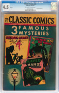 Golden Age (1938-1955):Miscellaneous, Classic Comics #21 3 Famous Mysteries HRN 30 (Gilberton, no date) CGC VG+ 4.5 Off-white to white pages....