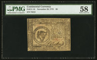 Continental Currency November 29, 1775 $8 PMG Choice About Uncirculated 58