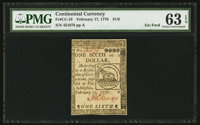Continental Currency February 17, 1776 $1/6 PMG Choice Uncirculated 63 EPQ