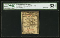 Continental Currency February 17, 1776 $1/6 PMG Choice Uncirculated 63 Net
