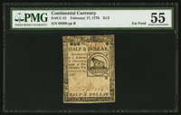 Continental Currency February 17, 1776 $1/2 PMG About Uncirculated 55