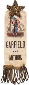 Political:Ribbons & Badges, Garfield & Arthur: A Great Ribbon with Civil War Soldier Design....