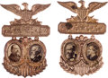 Political:Ferrotypes / Photo Badges (pre-1896), Harrison & Morton and Cleveland &Thurman: A Very Choice Matched Pair of 1888 Jugate Badges. ... (Total: 2 Items)