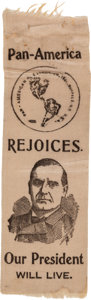 Political:Ribbons & Badges, William McKinley: A Clearly Over-Optimistic Ribbon We've Never Encountered Before. ...