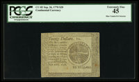 Continental Currency Detector Note September 26, 1778 $20 PCGS Extremely Fine 45
