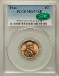 Lincoln Cents, 1944 1C MS67+ Red PCGS. CAC....