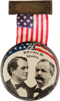 "Political:Ribbons & Badges, Bryan & Sewall: Large, Colorful Jugate Badge with 1¾"" Celluloid. ..."