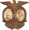 Political:Ferrotypes / Photo Badges (pre-1896), Harrison & Reid: Cardboard Jugate....