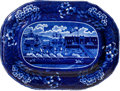 Antiques:Decorative Americana, Historical Blue Staffordshire: Landing of Lafayette Platter....