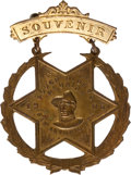 Political:Ribbons & Badges, Theodore Roosevelt: A Rare Rough Rider Reunion Badge with his Portrait. ...
