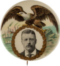 Political:Pinback Buttons (1896-present), Theodore Roosevelt: Eagle and Harbor Button. ...