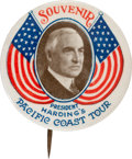 """Political:Pinback Buttons (1896-present), Warren G. Harding: Uncharacteristically Choice Example of this Colorful 1¼"""" Variety. ..."""