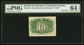 Fractional Currency:Second Issue, 10¢ Second Issue Experimental Milton 2E10R.4c PMG Choice Uncirculated 64 EPQ.. ...