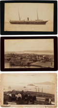 Photography:Cabinet Photos, San Diego and San Francisco Harbor Scenes: Three AlbumenPhotographs. ... (Total: 3 Items)