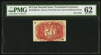 Fifty Cent Second Issue Experimental Invert Milton 2E50R.4b PMG Uncirculated 62