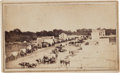 Photography:CDVs, Carte de Visite Picturing Fisk Wagon Train in Manhattan, Kansas....