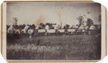 Photography:CDVs, Carte de Visite Picturing Wagon Train outside of Manhattan, Kansas. ...