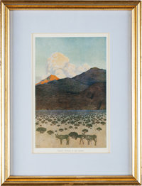 """Maxfield Parrish: The Great Southwest: Formal Growth in the Desert Color Print, 5.5"""" x 8.5"""""""