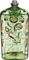 Antiques:Decorative Americana, Early Pontiled German Motto Pint Flask,...