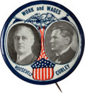"""Political:Pinback Buttons (1896-present), Roosevelt and Curley: Impressive 2 1/8"""" Coat-tail Jugate for this Popular Boston Mayor. ..."""