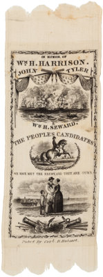 William Henry Harrison: A Superb 1840 Silk Campaign Ribbon with W. H. Seward Running for N.Y. Governor