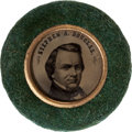 Political:Ferrotypes / Photo Badges (pre-1896), Douglas & Johnson: A Choice 1860 Ferro in Scarce Form withGreen Velvet Border. ...