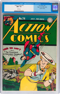 Action Comics #74 Mile High pedigree (DC, 1944) CGC NM+ 9.6 White pages