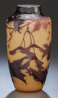 D'ARGENTAL OVERLAY GLASS SYCAMORE VASE Circa 1910, Cameo: D'Argental 8 inches high (20.3 cm)