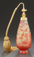 Art Glass:Galle, GALLÉ OVERLAY GLASS FLORAL PERFUME ATOMIZER. Circa 1910, Cameo:Gallé. 8-1/2 inches high (21.6 cm). ...