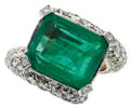 Estate Jewelry:Rings, Emerald, Diamond White Gold Ring. ...
