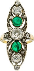 Estate Jewelry:Rings, Diamond, Emerald, Silver-Topped Gold Ring, early 20th century. ...