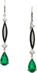 Estate Jewelry:Earrings, Emerald, Diamond, Black Onyx, White Gold Earrings, Eli Frei. ...