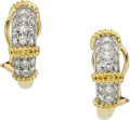 Estate Jewelry:Earrings, Diamond, Platinum-Topped Gold Earrings. ...