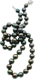 Estate Jewelry:Necklaces, South Sea Cultured Pearl, Diamond White Gold Necklace. ...