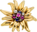 Estate Jewelry:Brooches - Pins, Retro Diamond, Ruby, Sapphire, Gold Clip-Brooch, Cartier, French. ...