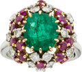 Estate Jewelry:Rings, Emerald, Diamond, Ruby, Platinum, Gold Ring. ...